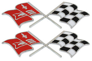 1958 1959 1960 Corvette Front Fender X Flag Emblem Pair Made In The Usa