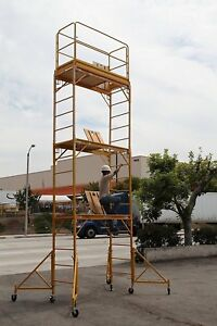 Scaffold Rolling Tower 17 High With Hatch Deck Guard Rail U Lock Cbmscaffold