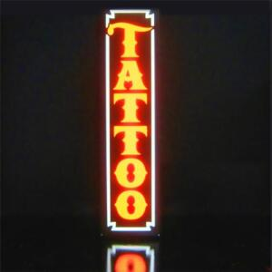 New Led Tattoo Shop Parlor Orange Vertical Sign Light Box Neon Alternative