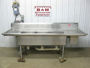 96 Stainless Steel 3 Bowl 18 X 20 Compartment Sink W 2 Drain Boards 8