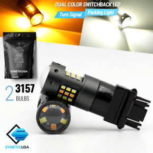 3157 Dual Color Switchback White Amber Smd 60 Led Turn Signal Corner Light Bulbs