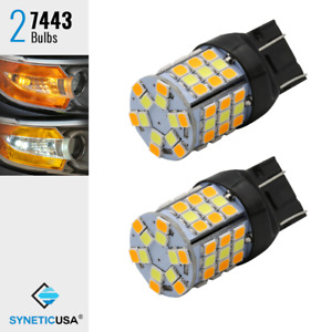 7443 Dual Color Switchback White Amber Yellow 60 Smd Led Turn Signal Light Bulbs