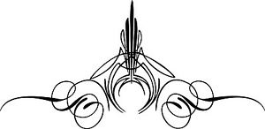 Custom Graphic Center Scroll Pinstriping Decal 12 Pair 2 Decals