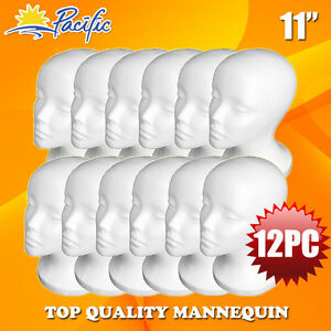 12pcs 11 styrofoam Foam Mannequin Manikin Head Wig Display Hat Glasses
