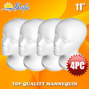 4pcs 11 styrofoam Foam Mannequin Manikin Head Wig Display Hat Glasses