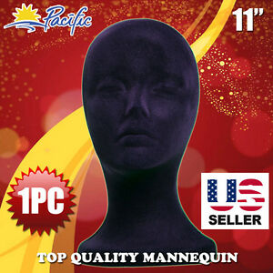 11 Styrofoam Foam Black Mannequin Manikin Head Display Wig Hat Glasses