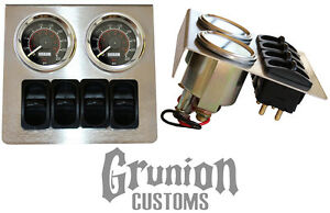 Air Ride Suspension Stainless Gauge Panel W Viair Gauges Manual Paddle Valves