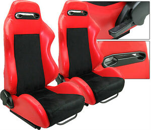 2 Red Leather Black Suede Racing Seats Reclinable All Scion