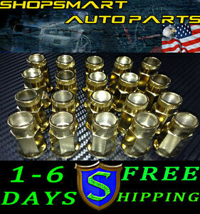 M12x1 5 Mm Gold Steel Tuner Lug Nut Set 20 Pcs Honda Acura Toyota Civic Lugnuts