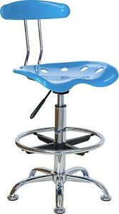Vibrant Bright Blue Drafting Stool With Tractor Seat Shop Stool Salon Stool