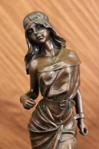 Tall Indian Girl Warrior Bronze Sculpture Statue On Marble Base Figurine Figure
