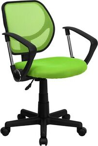 Mid back Green Mesh Task Chair And Computer Chair With Arms Home Office School
