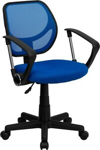 Mid back Blue Mesh Task Chair And Computer Chair With Arms Home Office School