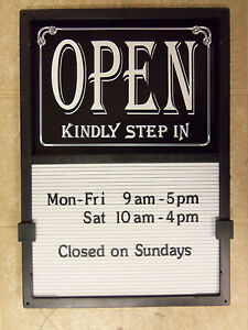 New Open Closed Sliding Sign With 420 Changeable Letter Message Menu Hours Board