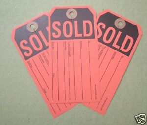 500 Larg Red Sold Tags W Center Slit Heavy Duty Paper Merchandise Auction Sale