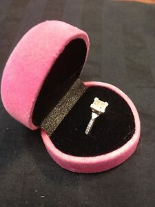Pink Heart Velvet Metal Hinged Engagement Wedding Ring Deluxe Gift Box B12