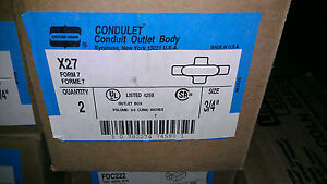 New Crouse Hinds X27 Box Of 2 Condulet Conduit Outlet Body 3 4 Form 7