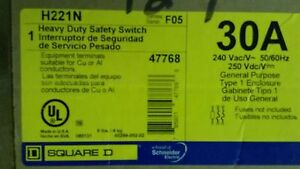 Square D H221 N Safety Switch New In Box 30 Amp 240v Single Phase Fusible
