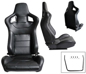 New 2 Black Leather Racing Seats Reclinable W Slider All Honda