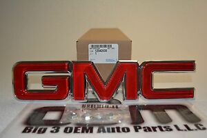 1988 1998 Gmc Sierra Yukon 1996 2002 Savana Red Chrome Grille Emblem New Oem