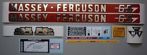 Massey ferguson Mf 65 Mf65 Tractor Complete Decal Set