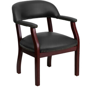 Black Vinyl Luxurious Conference Guest Seating Reception Chair Office Side Cha