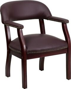 Burgundy Leather Luxurious Conference Chair Office Home Office Side Chair