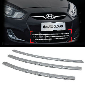 Bumper Radiator Grille Chrome Moldings For Hyundai 11 17 Solaris Accent Verna