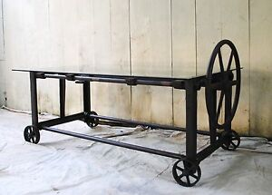 Stunning Vintage Antique Industrial Cast Iron Table Machine Age