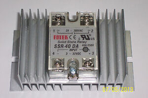 1 Pc 24 380 Vac 40 Amp Solid State Relay 3 32 Vdc Input With Large Heatsink