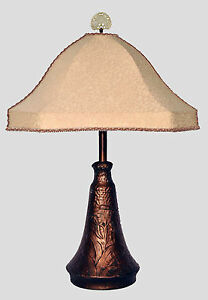Arts Crafts Art Nouveau Hammered Copper Table Lamp With Flowers Custom Shade