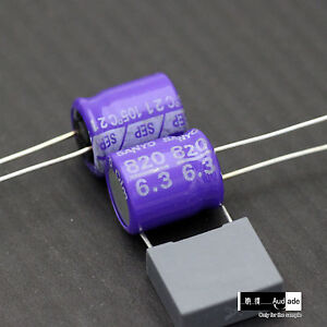 200x 820uf 6 3v Sanyo Sep Motherboard Oscon Aluminum Solid Capacitor Purple D10