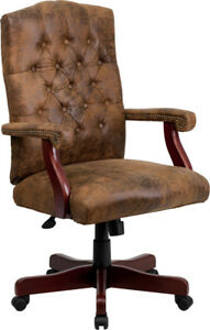 Bomber Brown Executive Office Chair With Arms Martha Washington Office Chair