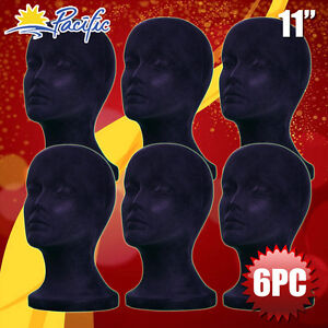 Halloween 6pc Styrofoam Foam Black Velvet Mannequin Manikin Head Display Wig