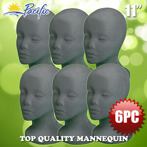 Halloween 6pc 11 Styrofoam Foam Grey Velvet Mannequin Manikin Head Display Wig