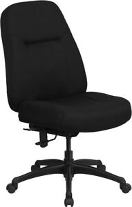 400lbs Capacity Big Tall High Back Black Fabric Office Chair Extra Wide Seat