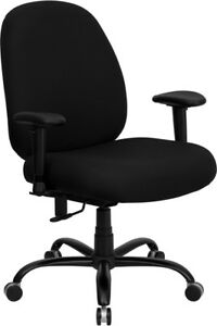 Big And Tall Black Fabric Office Desk Chair With Extra Wide Seat 400 Lb Capacity
