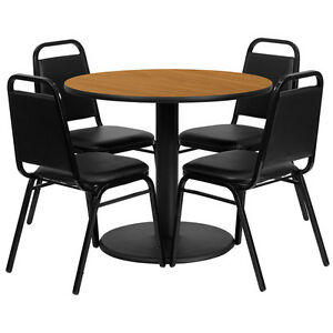 36 Round Natural Laminate Top Restaurant Table Set With 4 Black Banquet Chairs