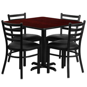 36 Square Mahogany Laminate Top Restaurant Table Set With 4 Chairs Black Vinyl