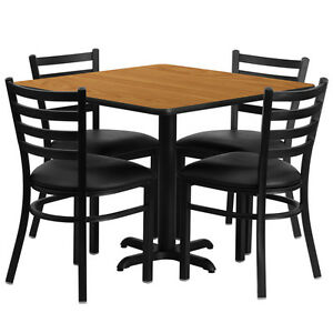 36 Square Naturural Laminate Top Restaurant Table Set With 4 Chairs Black Vinyl