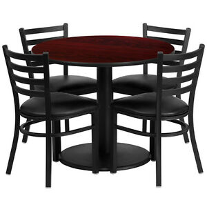 36 Round Mahogany Laminate Top Restaurant Table Set W 4 Metal Chair Black Vinyl