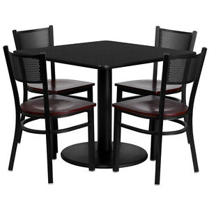 36 Square Black Laminate Top Restaurant Table Set With 4 Grid Back Metal Chairs
