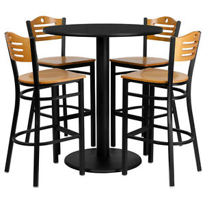 36 Round Black Laminate Top Restaurant Table Set W 4 Wood Slat Back Barstools