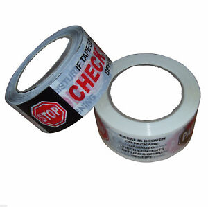 36 Sealing Security Tape Roll Printed 2 X 110 Yd Stop Check black red white