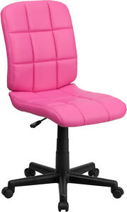 Mid back Pink Quilted Vinyl Task Chair Office Chair