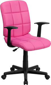 Mid back Pink Quilted Vinyl Task Chair With Nylon Arms Office Chair