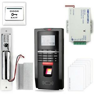 Complete Fingerprint And Rfid Door Access Control System drop Bolt Lock psu