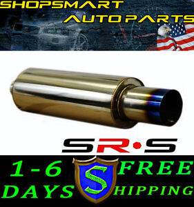 Srs Blue Tip 4 5 Tip Type r1 Universal Exhaust Muffler 3 Piping Burn Tip Ss