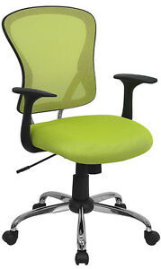 Mid back Green Mesh Office Chair With Lumbar Support And Chrome Finished Base