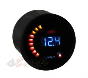 2 52mm Voltage Meter Blue Led Digital Tint Lens Gauge Universal Volt Tach New